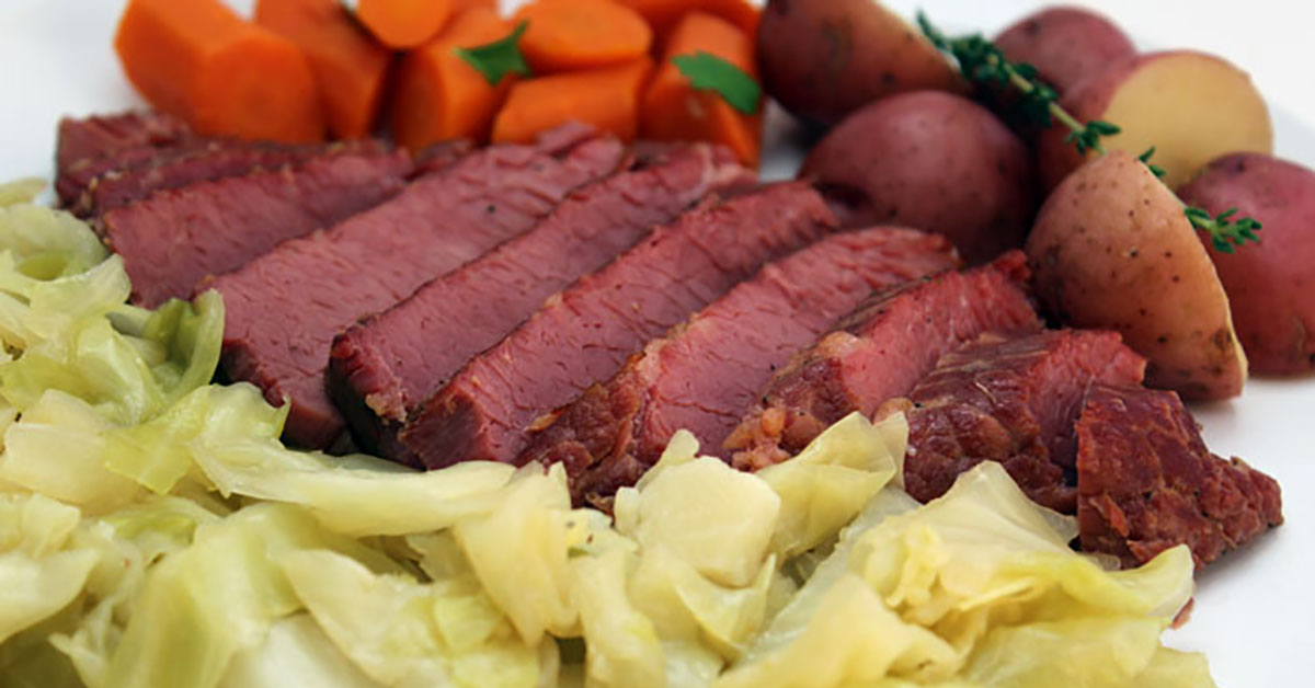 pressure cooker corned beef and cabbage   the foodie eats
