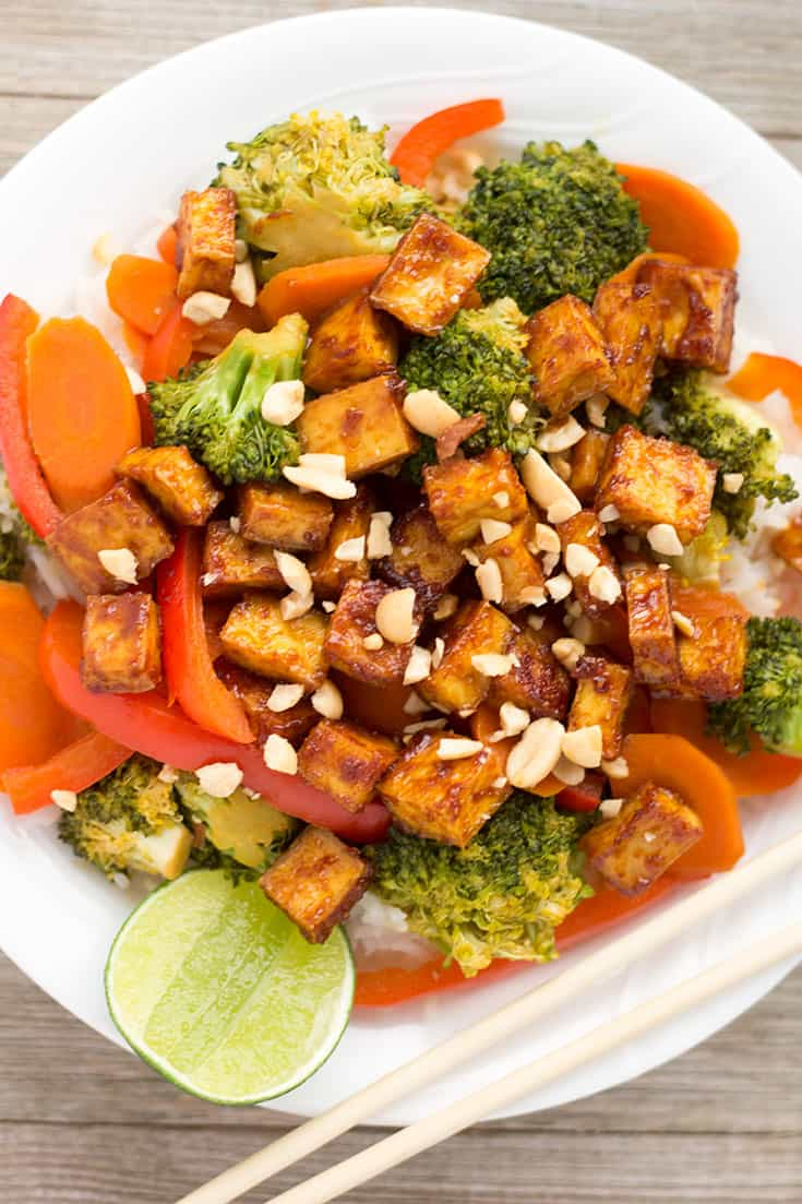 Tofu Stir-Fry with Sweet and Spicy Peanut Sauce | The Foodie Eats