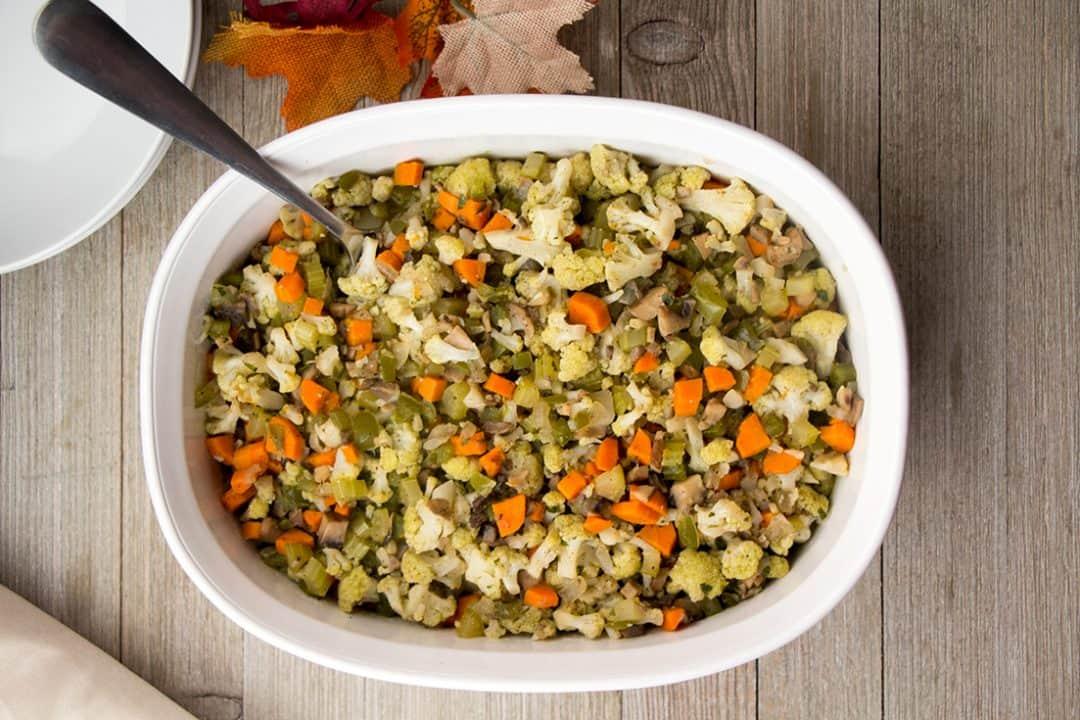 Vegan & Gluten-Free Cauliflower Stuffing | The Foodie Eats