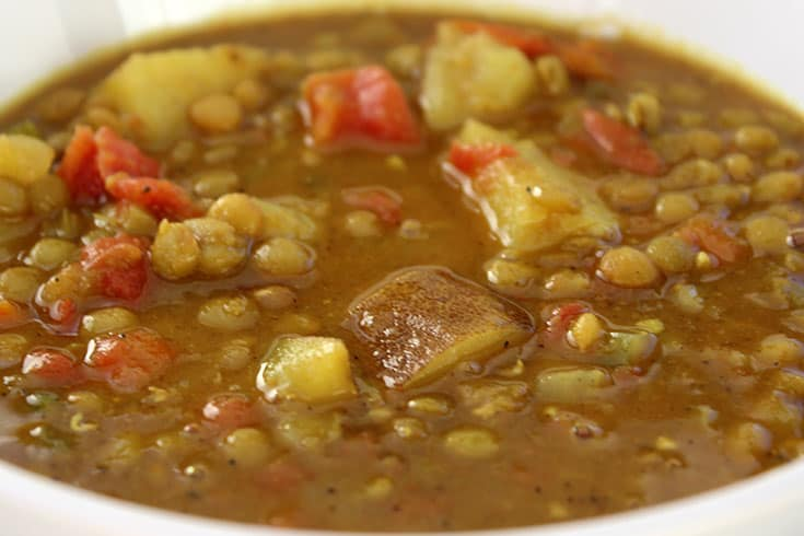 Pressure Cooker Lentil Soup with Curry and Potatoes   The Foodie Eats