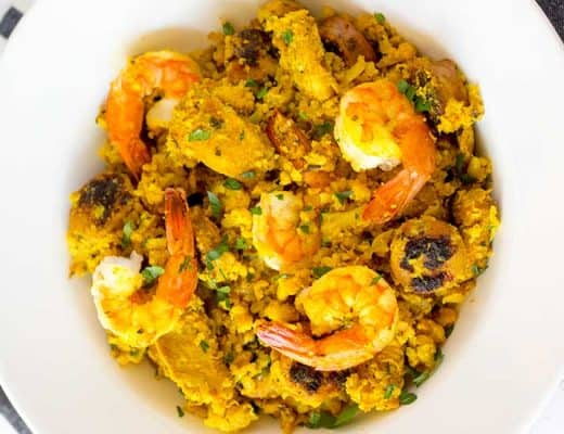 cauliflower paella in white bowl