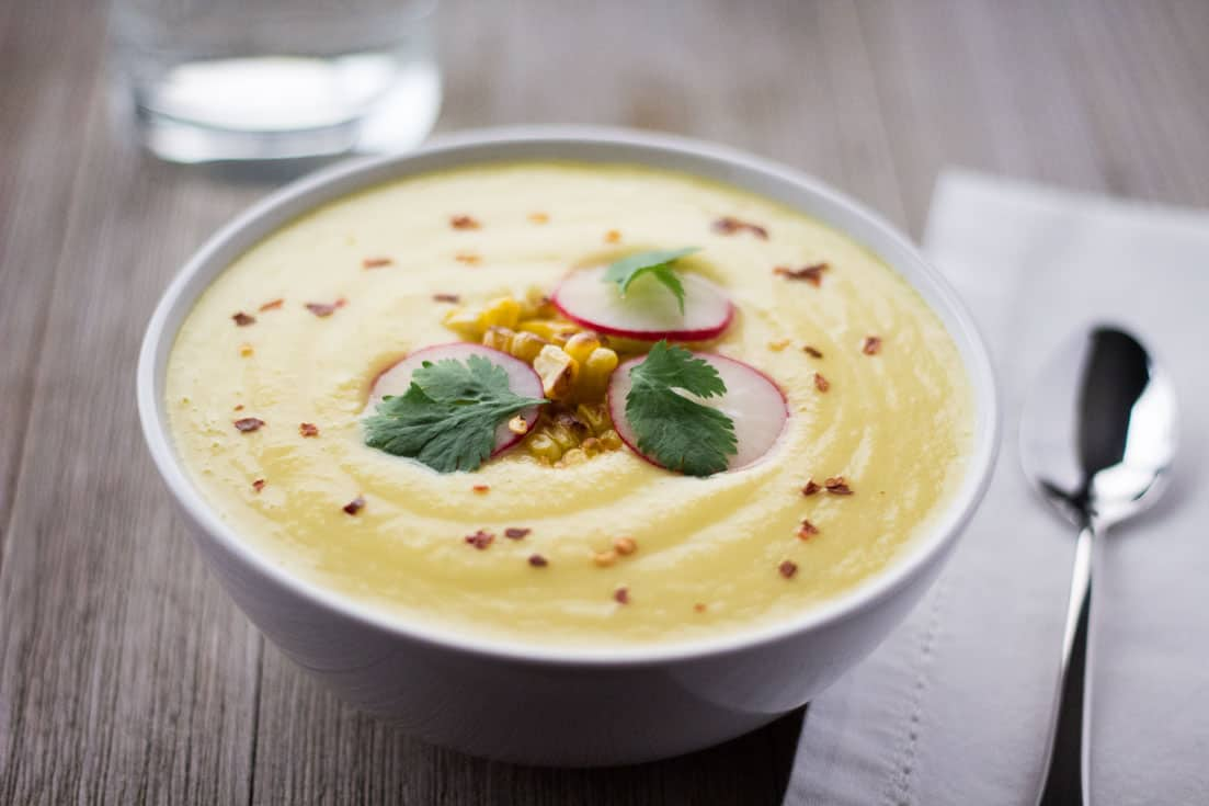 Chilled Corn Soup - Whole-Food, Plant-Based | The Foodie Eats