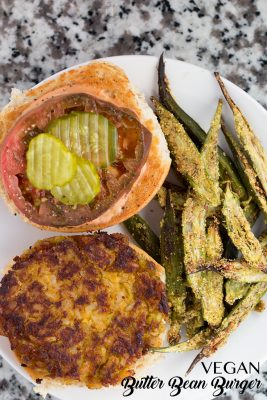 Vegan ButterBean Burgers with Oven-Fried Okra Fries | The Foodie Eats