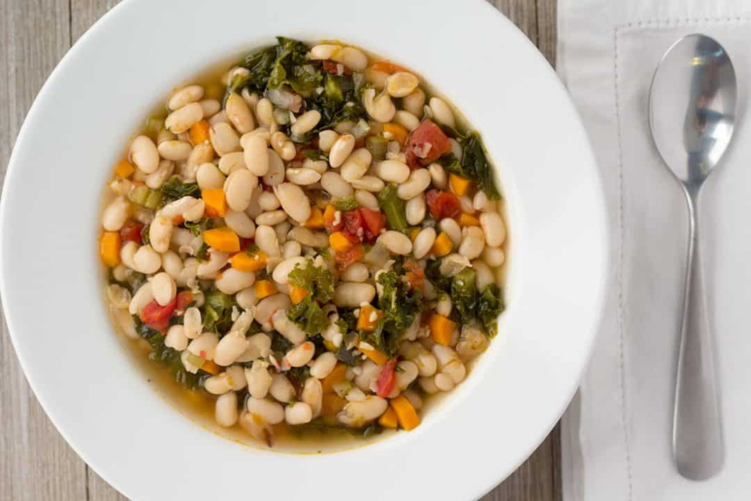 Vegan Instant Pot White Bean Soup | The Foodie Eats