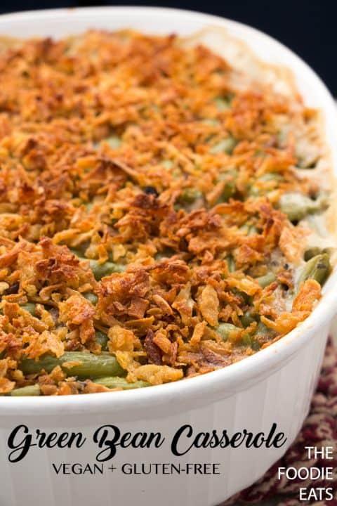 Vegan Green Bean Casserole | The Foodie Eats