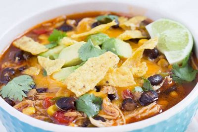 Slow Cooker Chicken Tortilla Soup | The Foodie Eats