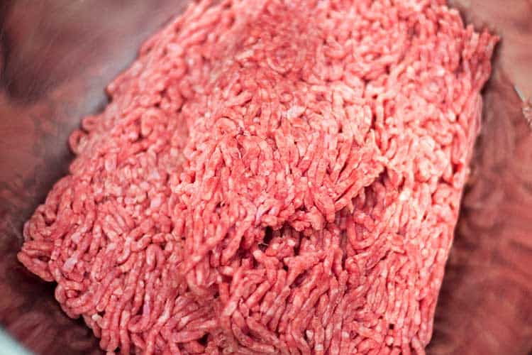 ground beef in mixing bowl