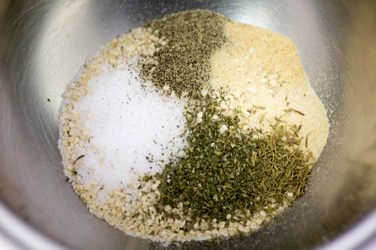 breadcrumbs and spices in mixing bowl