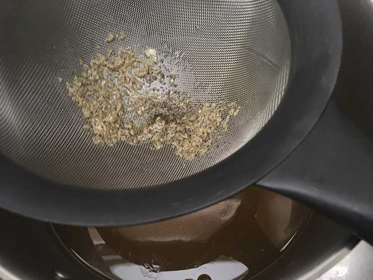 chicken broth passed through fine mesh strainer.