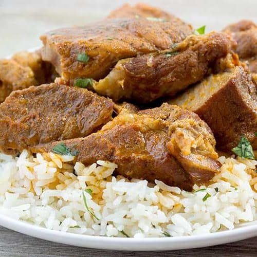 Instant Pot Country Ribs with Sweet & Spicy Red Curry Sauce | The Foodie Eats