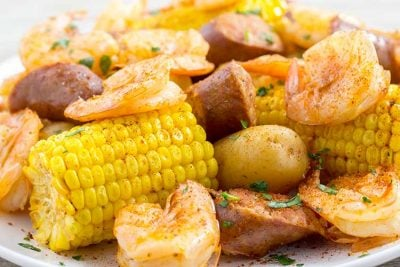 Instant Pot Shrimp Boil on white serving platter.
