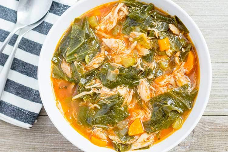 Pressure Cooker Chicken Vegetable Soup with Collard Greens | The Foodie Eats