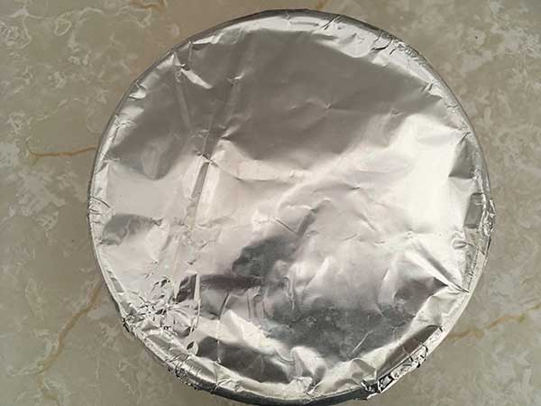 Push pan covered with aluminum foil.