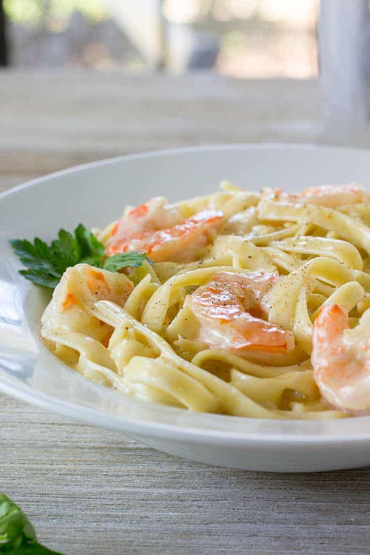 Instant Pot Shrimp Alfredo | The Foodie Eats