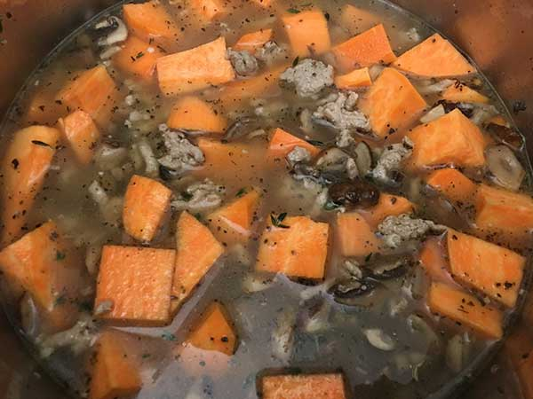Instant Pot Turkey Soup with Mushrooms, Sweet Potatoes & Spinach | The Foodie Eats