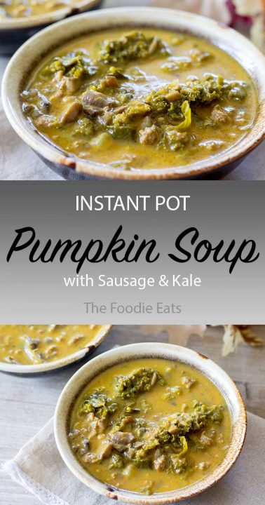Pressure Cooker Pumpkin Soup with Sausage and Kale | The Foodie Eats