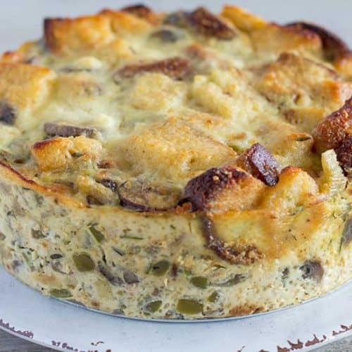 Instant Pot Bread Pudding Savory With Mushrooms And Parmesan