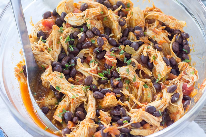 Instant Pot Salsa Chicken with Lime and Black Beans | The Foodie Eats
