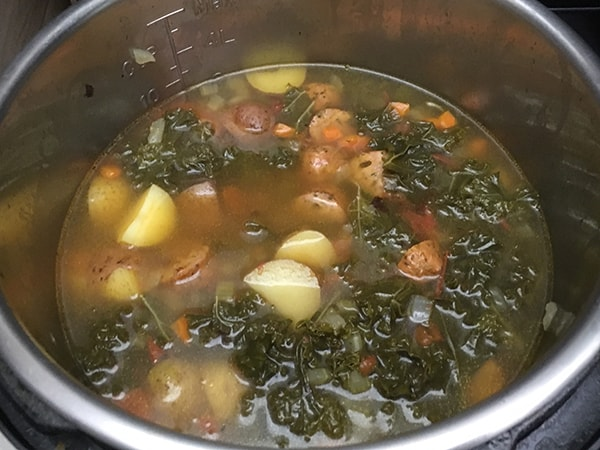 sausage, potato and kale soup in Instant Pot