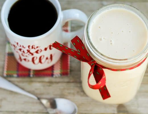 Coffee cup and coffee creamer.