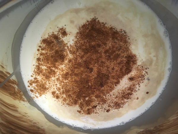 milk, cream and nutmeg