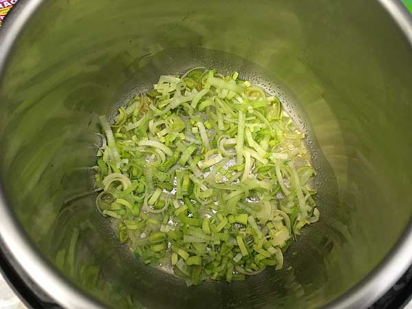 sliced leeks in Instant Pot