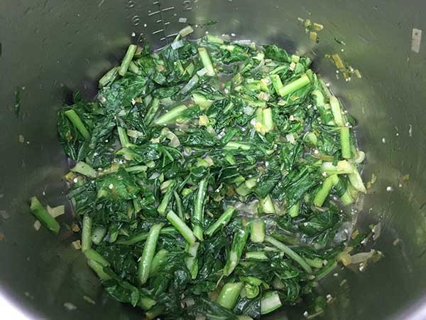 cooked turnip greens in Instant Pot