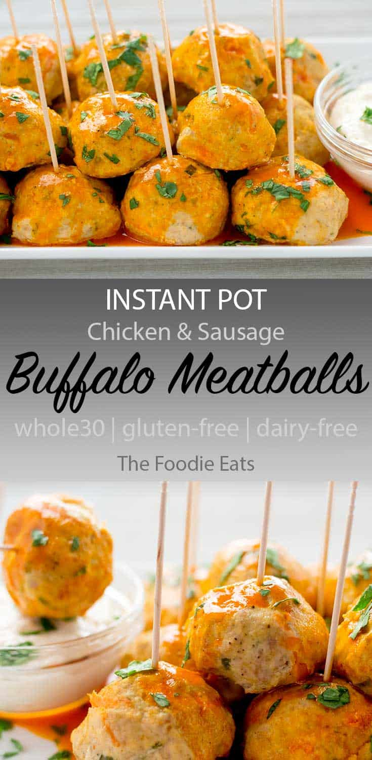 instant pot buffalo meatballs image for Pinterest