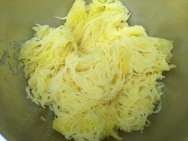spaghetti squash in mixing bowl