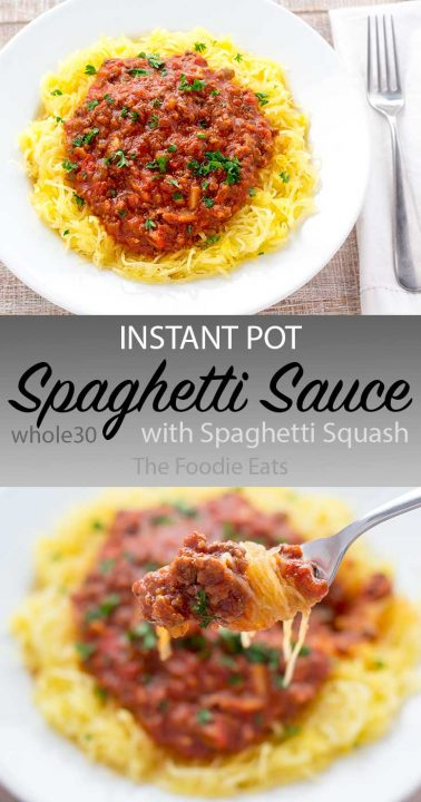 Pinterest image of spaghetti squash and sauce