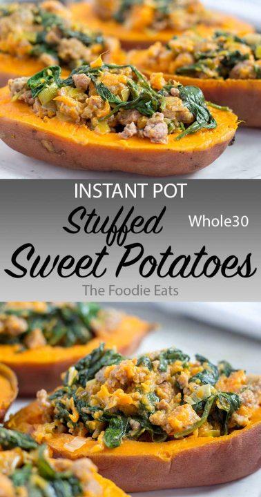 stuffed sweet potatoes image for Pinterest