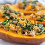stuffed sweet potatoes on white plate