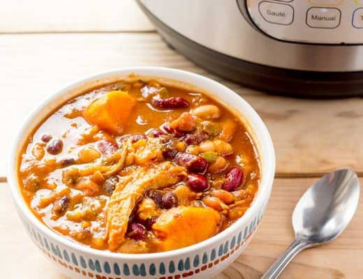 Instant Pot Sweet Potato Chicken Chili in bowl