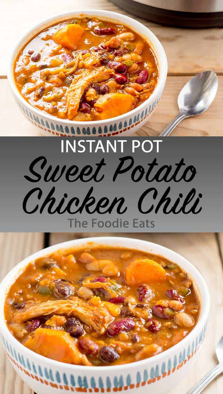 Instant Pot Sweet Potato Chicken Chili image for Pinterest