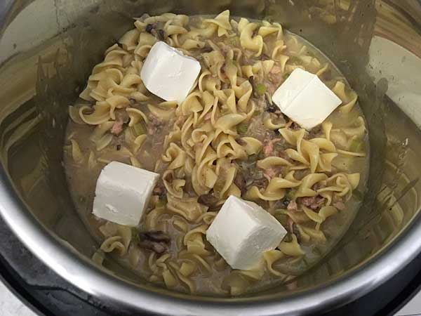 Cream cheese on top of tuna casserole.