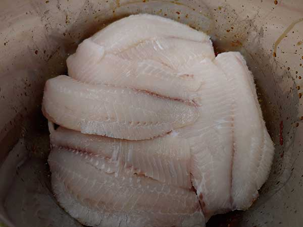 Layer of fish seasoned with salt.