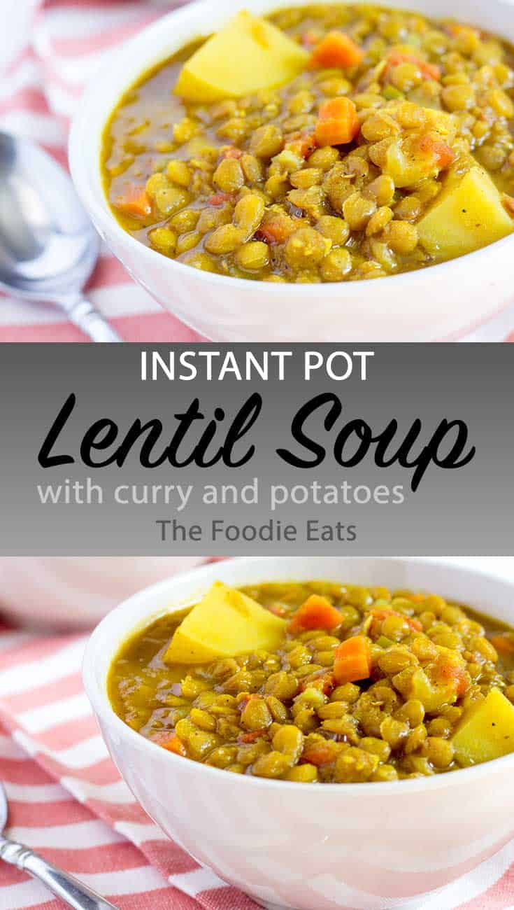 Instant Pot lentil soup image for Pinterest.