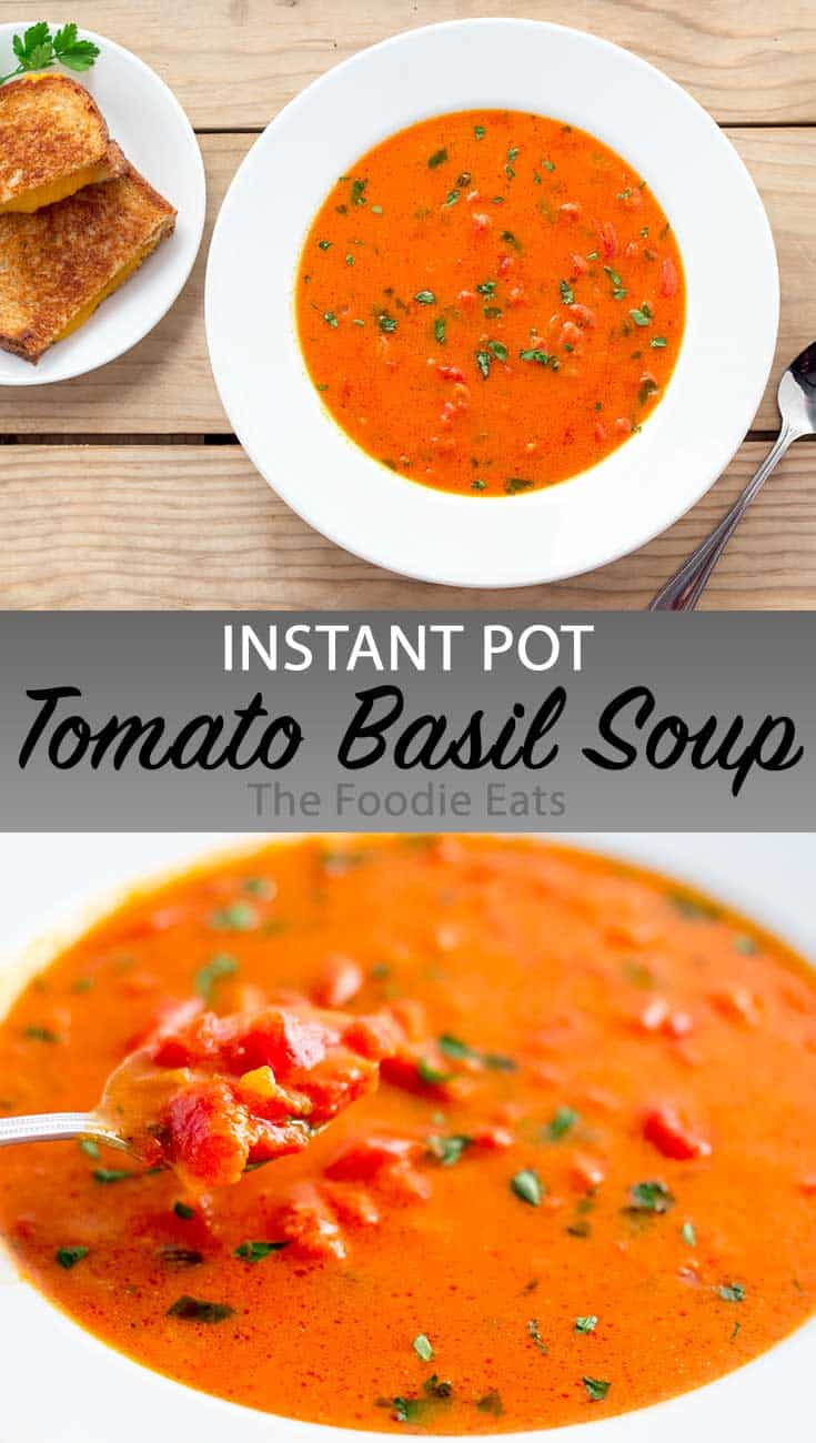 Tomato basil soup image for Pinterest.
