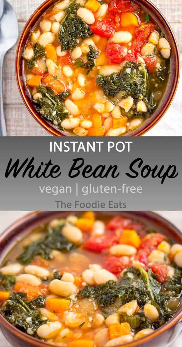 Vegan White Bean Soup image for Pinterest.