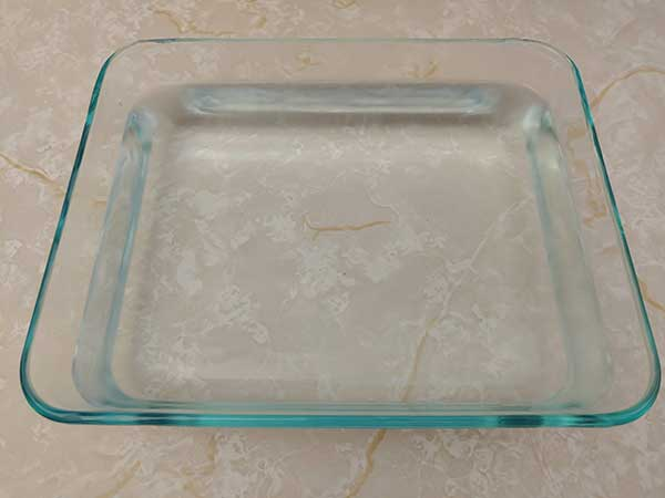Water in Pyrex dish.
