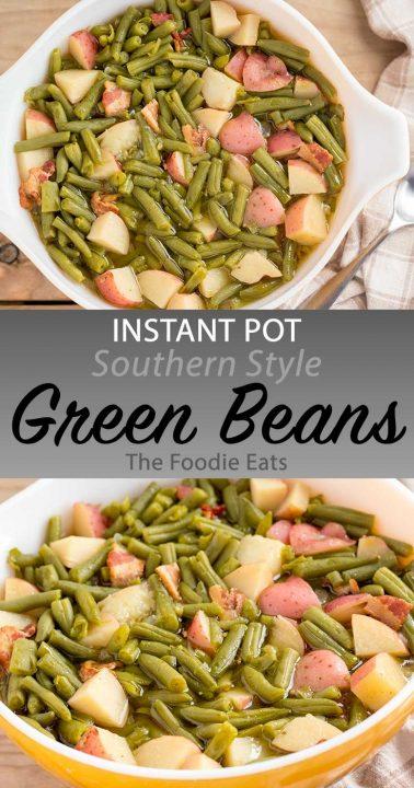 Pressure cooker green beans image for Pinterest.