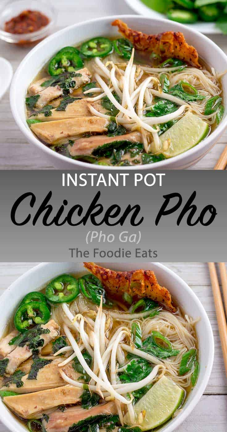 Pressure Cooker chicken pho image for Pinterest.