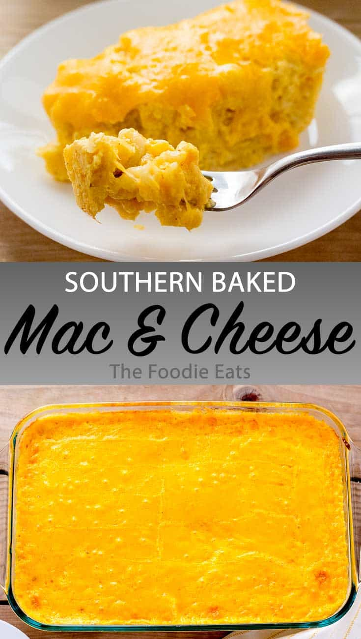 Southern Baked Mac and Cheese image for Pinterest.