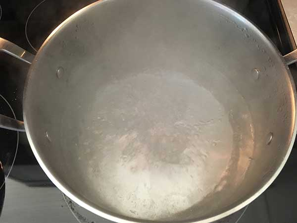 Water boiling in pot.