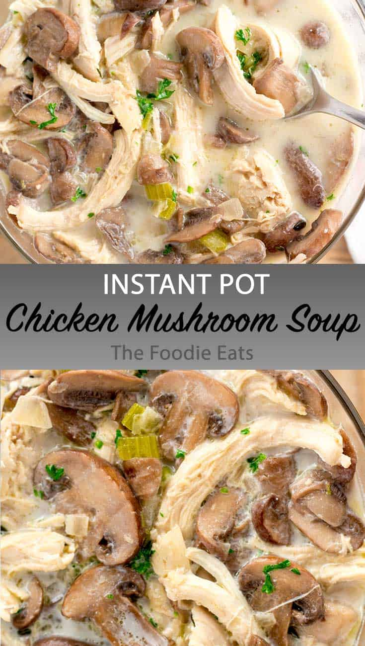 Instant Pot chicken mushroom soup image for Pinterest.