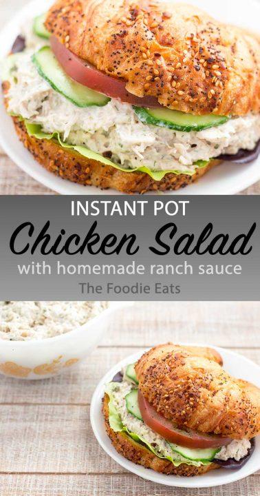 Pressure cooker chicken salad image for Pinterest.