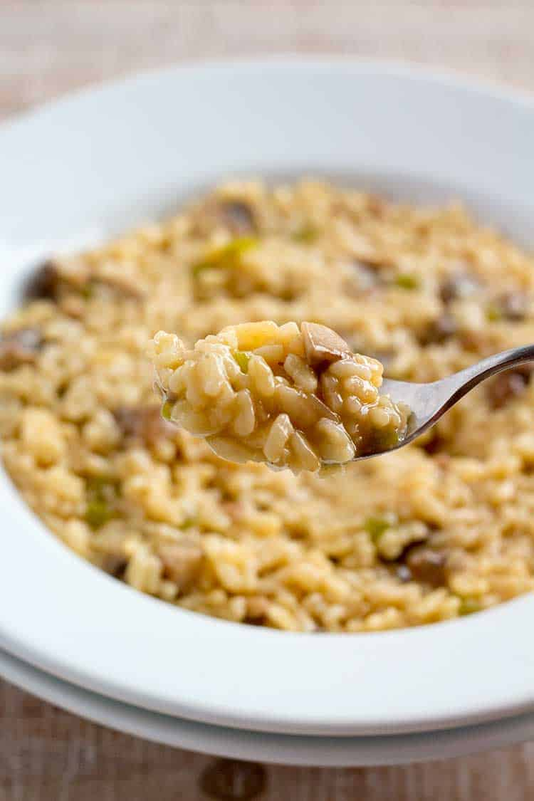 Closeup spoonful of Instant Pot mushroom risotto with white bowl in background.