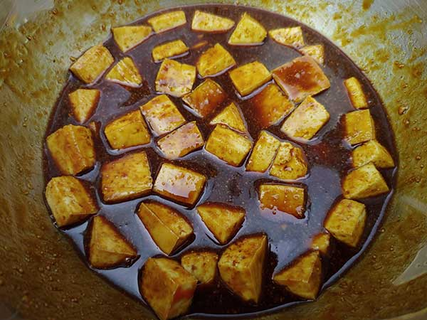 Small pieces of tofu marinating in spicy peanut sauce.