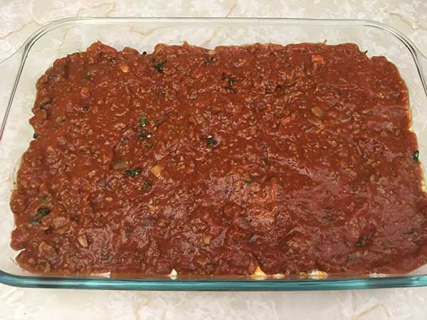 Second layer of tomato sauce.