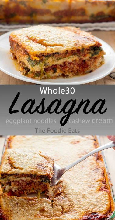Whole30 lasagna image for Pinterest.